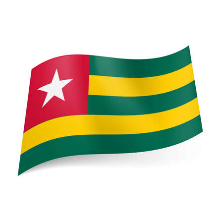 togo: National flag of Togo: green and yellow horizontal stripes, red square with white star in upper left corner