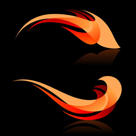 Abstract design elements in red and orange colors on black background Vector