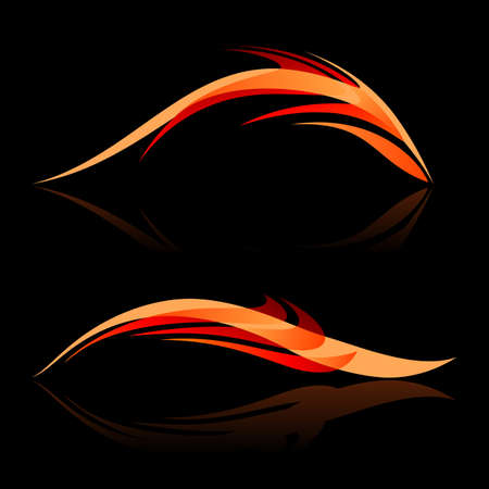 fish form: Abstract design elements in red and orange shades on black background