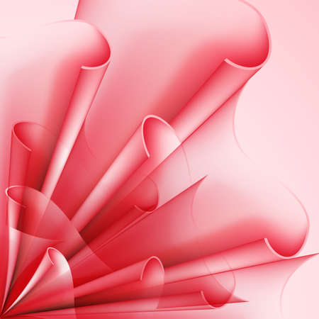 pleat: Abstract background with curved flag elements in red shades Illustration