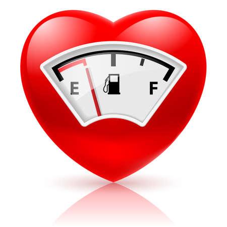 Glänzende rote Herz mit Tankanzeige als Symbol der Gesundheit oder Liebe Standard-Bild - 25327068