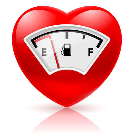 Shiny red heart with fuel indicator as symbol of health or love Ilustrace