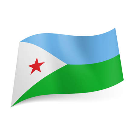 National flag of Djibouti: blue and green horizontal stripes, white triangle with red star on left side Vector