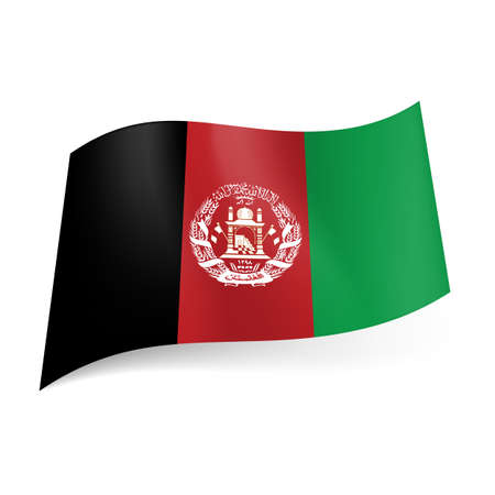 afghanistan: National flag of Afghanistan: black, red and green vertical stripes with coat-of-arms on central band Illustration