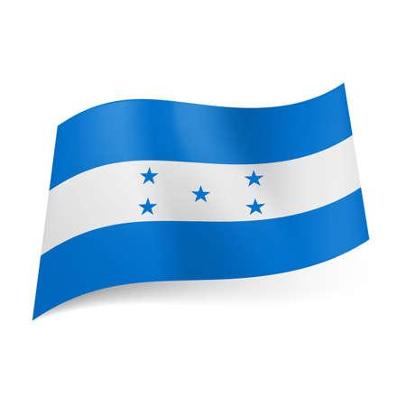 bandera honduras: Bandera nacional de Honduras: raya blanca con cinco estrellas entre dos bandas azules Vectores