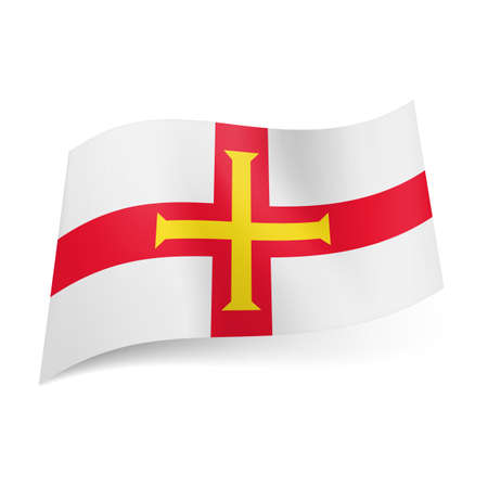 bailiwick: National flag of Guernsey: yellow cross inside red one on white