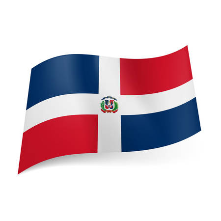 National flag of Dominican Republic: white cross with coat-of-arms, four red and blue rectangles Vector