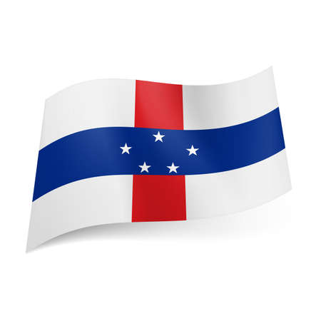 antilles: National flag of Netherlands Antilles: cross of red and blue stripes with five stars on it on white