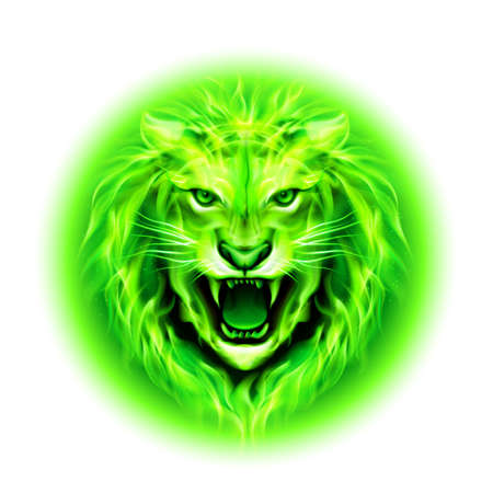 zodiac anger: Head of aggressive green fire lion isolated on white background. Illustration