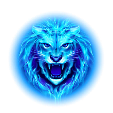 zodiac anger: Head of aggressive blue fire lion isolated on white background.