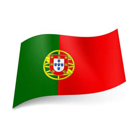drapeau portugal: Drapeau national du Portugal: manteau-de bras sur fond rouge et vert