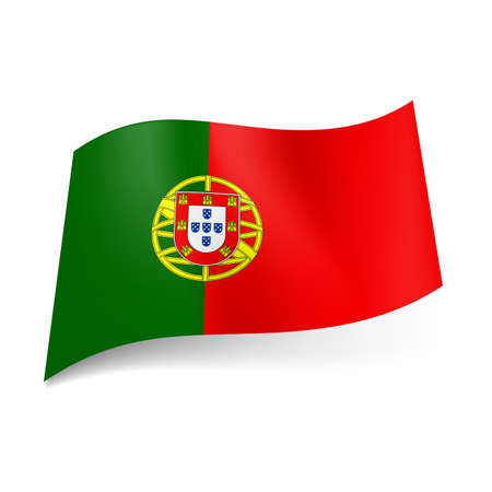 portugese: National flag of Portugal: coat-of arms on red and green background  Illustration