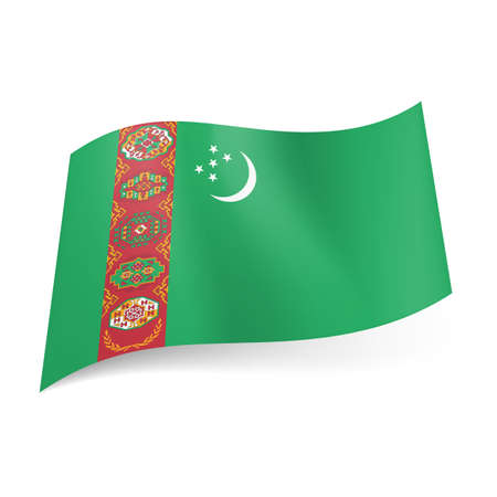 turkmenistan: National flag of Turkmenistan: crescent with stars and vertical stripe of Asian pattern on green background Illustration