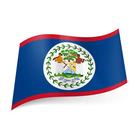 official symbol: National flag of Belize: blue field with red upper and lower border with coat-of-arms in centre  Illustration