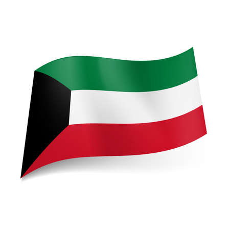 trapezium: National flag of Kuwait: green, white and red horizontal stripes with black trapezium on left side