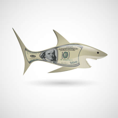 Shark with dollar pattern on white background Vector