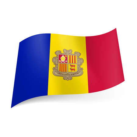 National flag of Andorra: blue, yellow and red vertical stripes with coat-of-arms on central band  Vector