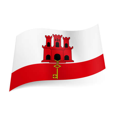 gibraltar: National flag of Gibraltar: white and red stripes with red castle and golden key  Illustration