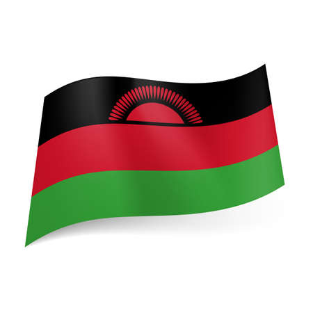malawi flag: National flag of Malawi: black, red and green horizontal stripes with red rising sun on black band  Illustration