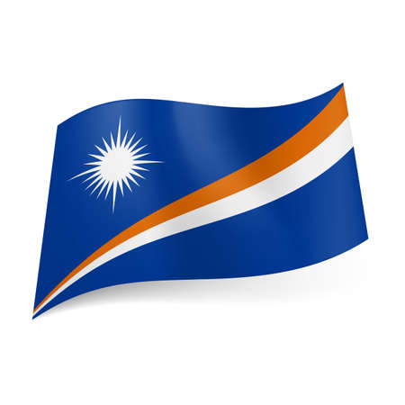of them: National flag of Marshall Islands: rising orange and blue diagonal stripes with white star above them on blue background