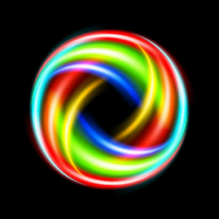 Circle made of colorful light strokes. Illustration on black background Vector