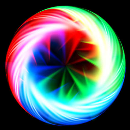 Abstract colorful circle with spikes in centre on black background Vector