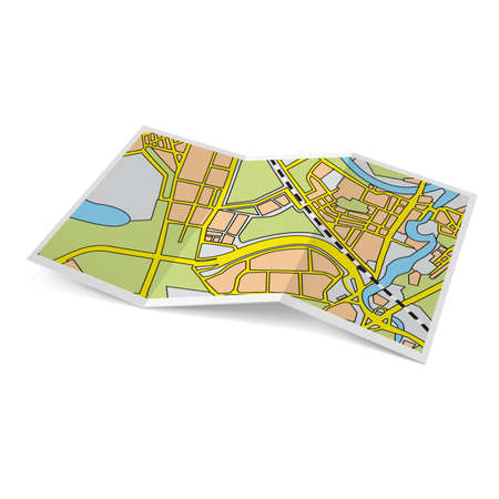 Illustration of city map booklet on white background Çizim