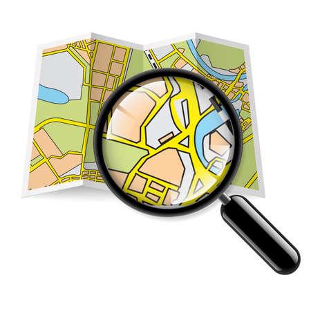 Mappa della città libretto con la lente d'ingrandimento su sfondo bianco Archivio Fotografico - 25942933