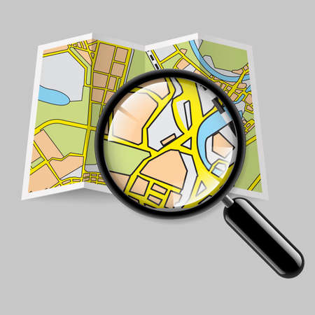 City map booklet with magnifying glass on grey background Vector