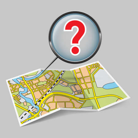 Illustration of map booklet with question mark on grey background Vector