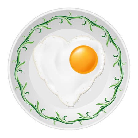 Fried eggs in heart shape in white plate with green floral pattern Vector