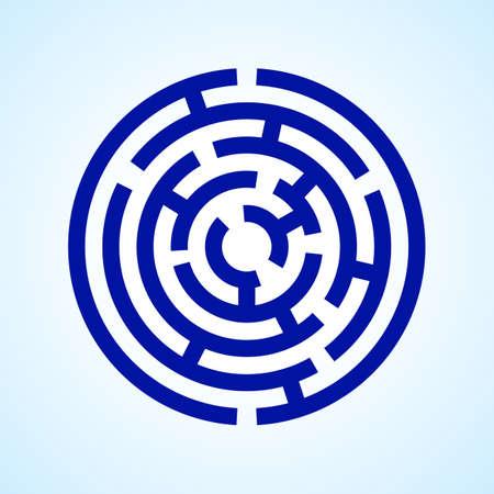 Illustration of round blue  labyrinth on light blue background Illustration