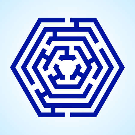 tricky: Illustration of blue labyrinth in hexagon shape on light blue background Illustration