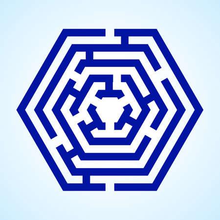 tricky: Illustration of blue labyrinth in hexagon shape on light blue background Illustration