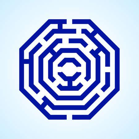 labyrinth: Illustration of  blue labyrinth in octangle shape on light blue background