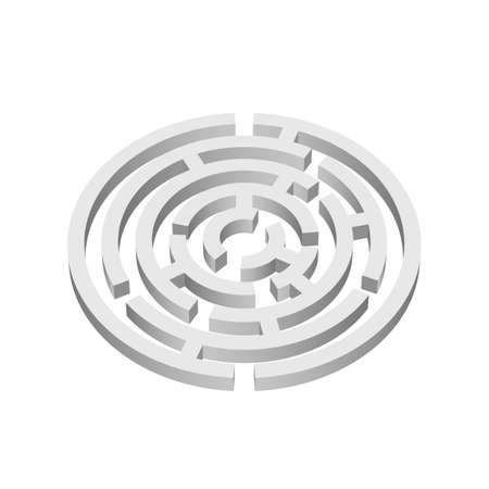 escape plan: White round 3d labyrinth on white background