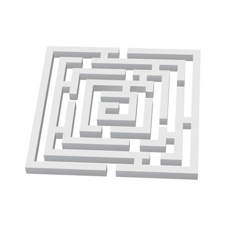 escape plan: White square 3d labyrinth on white background Illustration
