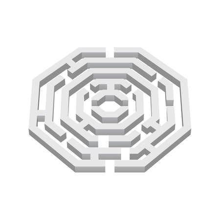 White 3d labyrinth in octangle shape on white background Vector