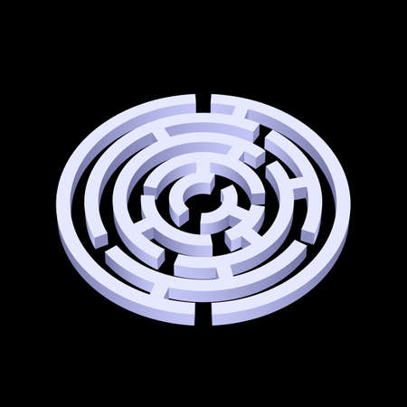 escape plan: White round 3d labyrinth on black background