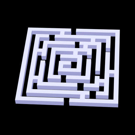 knotty: White square 3d labyrinth on black background