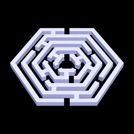 White 3d labyrinth in hexagon shape on black background
