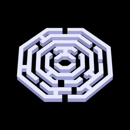 Illustration of white 3d labyrinth in octangle shape on black background Illustration