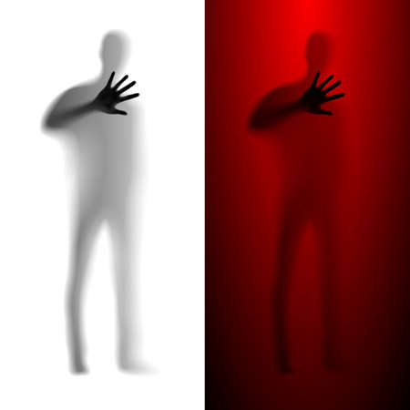 Blur male silhouette asking for help. White and red variations. Vector
