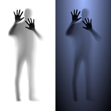 Blur male silhouette asking for help. Light and dark variations. Stock Vector - 25942869
