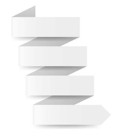 White paper arrow in zigzag shape on white background Vector