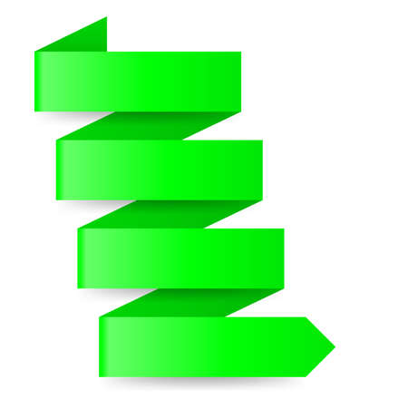 Green paper arrow in zigzag arrow on white  Vector