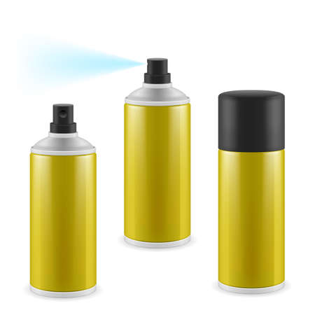 cologne: Two opened and one closed golden spray cans on white