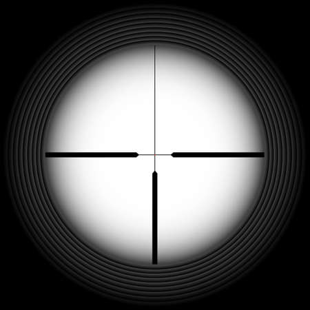 backsight: Black-and-white crosshair with blank space. Military and weapon