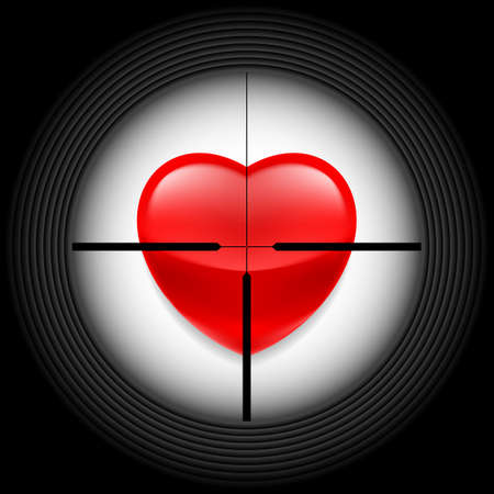 Rifle sight with a red glass heart as a target