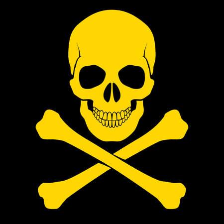 Yellow skull and cross-bones on black as symbol of danger